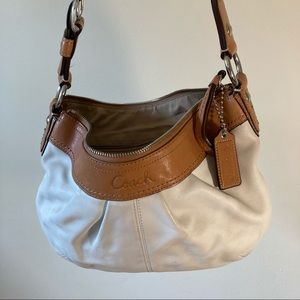 Coach white brown leather small shoulder bag